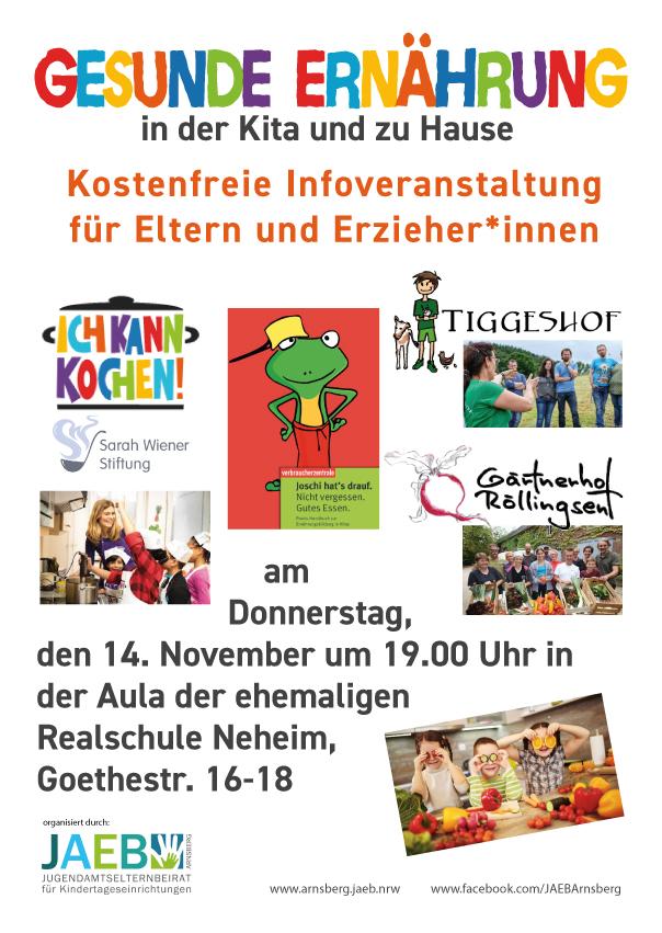Hinweis auf die Veranstaltung Gesunde Ernährung in Kitas und zu Hause am 14. November in der ehemaligen Realschule in Arnsberg-Neheim